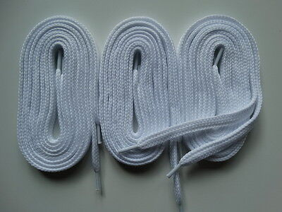 3 Pairs Laces thick flat 100cm white - Canvas Trainers skate Shoes Vans #