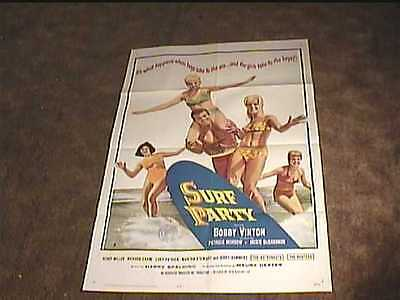 Surf Party Movie (SURF PARTY 1964 ORIG MOVIE POSTER BOBBY VINTON SURFING)