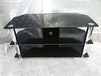 "Large Glass TV Stand for TVs up to 50"" LED LCD 1000mm Black"