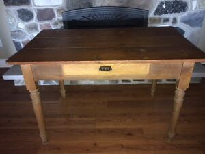 GORGEOUS Solid Wood Table with Drawer & Original Hardware