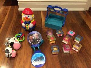 Baby Einstein Ocean Book + Fisher Price PEEK A BLOCKS+other toys