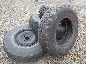 Set of studded Dunlop rally/mud/snow tyres, good tread,