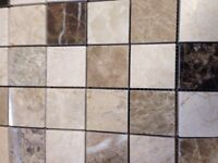 CLEARANCE Cream and brown glossy mosaic tiles