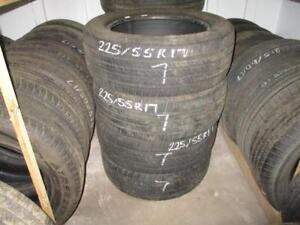 USED 225/55 R17 COOPER CS5 TIRES (SET OF 4) - 75% TREAD