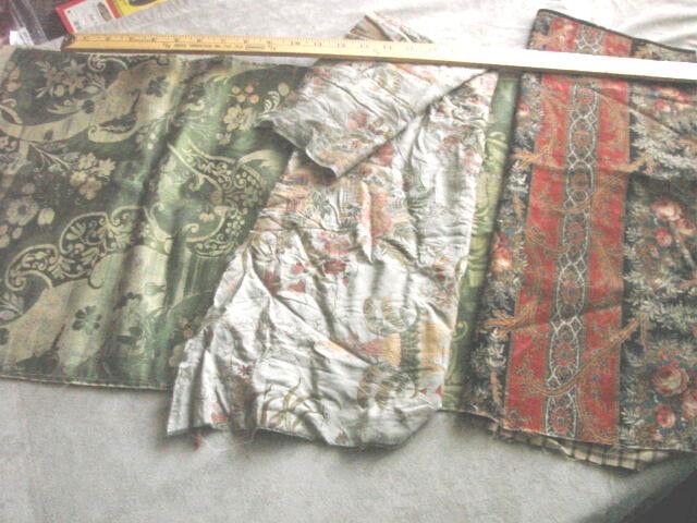 Vintage Antique Fabric 1800s LOT 3 Crettone Asian Brocade Damask PARIS