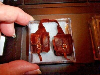 handcrafted leather saddle bags doll house miniature