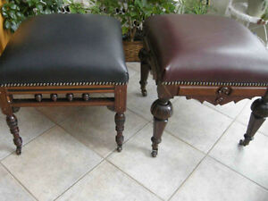 2 antique Victorian ottoman,footstool,burgundy and black leather