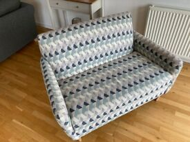 Loveseat (M&S Hugo loveseat, lilac and navy material)