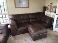 Sofa, Armchair and footstool Brown Leather