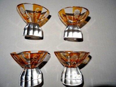 Vintage Salt Cellars Nut Cups Set of 4 Etched Amber Clear