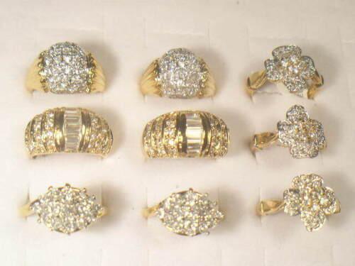 9  .. CZ   RINGS  VINTAGE  WITH SIMULANTED DIAMOMD SWAROVSKI CZ