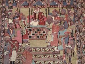 KING MUGHAL PARLIAMENT SOLDIER HAND KNOTTED RUG WOOL SILK CARPET