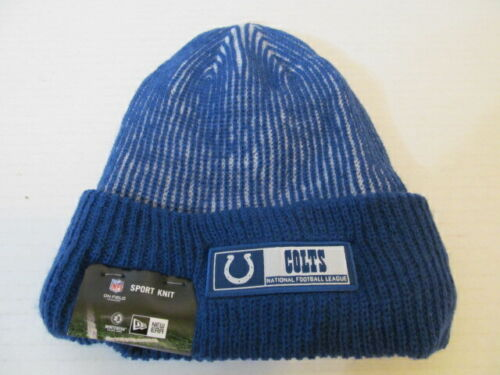 New Era Sport Knit NFL Indianapolis Colts Lined Cuffed Hat, w Blue Stripes