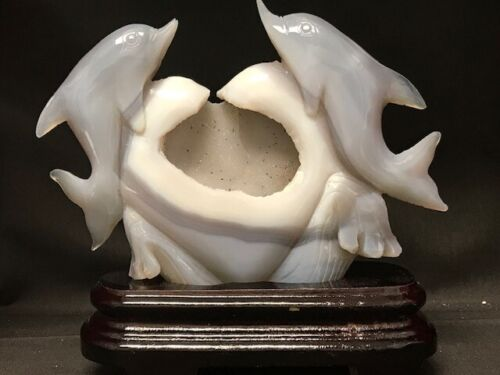 """SPLENDID DOLPHINS WITH HEART CARVING from BRAZILIAN AGATE, 8 1/2 """" TALL"""