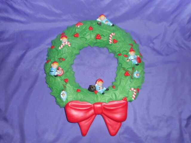 "VINTAGE SCIOTO CERAMIC WREATH WITH SLEEPING ELVES CHRISTMAS DECOR RED BOW 16""H"