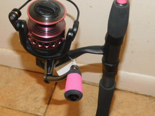 CUSTOM SPINNING ROD 7 FT 8-15 LB PINK PEARL MARBLE & PENN PASSION PAS4000 REEL