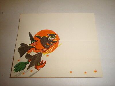 Old Vintage Halloween Witch Black Cat Moon Placecard Name Place card unused B