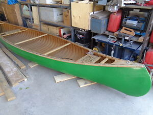 16 ft Cedar Strip and canvas canoe