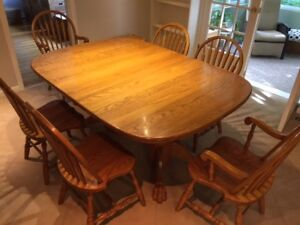 Extra large banquet style solid oak dining table and chairs