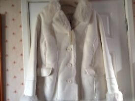 Ladies winter white jacket - machine washable-size large
