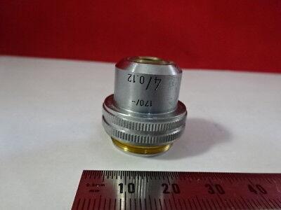 Leitz Germany Vintage Objective 4x 170 Optics Microscope Part F6-a-18