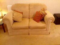 'Duresta' gold lounge suite 4 piece.3 seater, 2 seater ,armchair & footstool