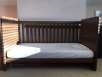 Immaculate Walnut Cotbed and mattress (and duvet, linen)