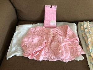 New born baby outfit, blanket, hat, sweater and booties