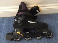 Bauer fx-3 adjustable inline roller skates with sonic elbow and knee pads; US size 8.