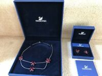 Swarovski silver and red necklace and matching earings