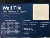 Ceramic Wall Tiles, 4''x4'' White Marl, approx 4 sq metres