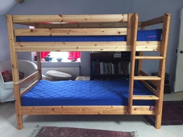 Flexa Pine Bunk Beds With Ladder And Leg Extensions In Cambridge