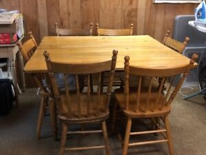 Press Back Chairs (6 matching) and pine table