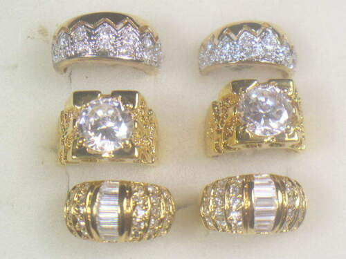 6.....MENS RINGS DESIGNER SIGNED SIMULANTED DIAMOMD SWAROVSKI CZ