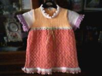 NEW HAND KNITTED - MULTICOLOURED PARTY DRESS (VINTAGE STYLE) - AGE 1 / 2 YEARS
