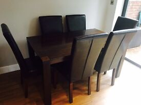 Dark Wooden Dining Table & Chairs - great condition