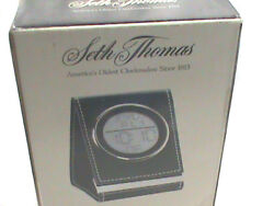 NEW SETH THOMAS WORLD TIME MULTI FUNCTIONS LCD FOLDUP TRAVEL ALARM CLOCK-BROWN