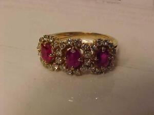 #3322-18K YELLOW GOLD RUBY(3) & 32 DIAMONDS(VS to SI CLARITY (.46 ct)-APPRAISED $3,250.00 SELL 1,095.00 FREE EXPRESS S/H