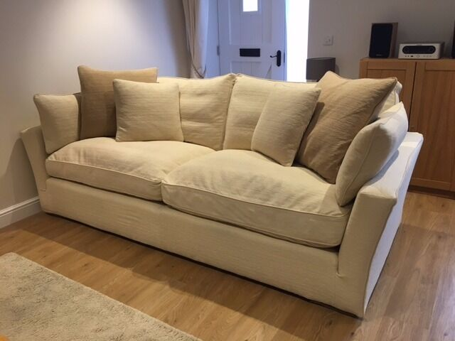 Large Sofa Work Cream Caruso With Feather Filled Cushions And Removable Covers