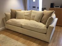 "Large Sofa Workshop Cream ""Caruso"" Sofa with feather filled cushions and removable covers"