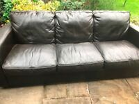 2 Brown leather 3 seater sofas free to collector