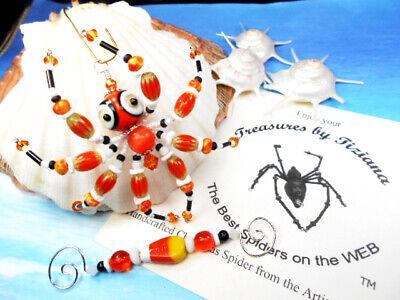 TreasuresbyTiziana® Halloween Candy Corn Spooky Big Glass Eye Spider Ornament