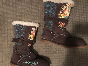 Ed Hardy Brown Suede Boots! Size 5