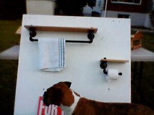 pipe towel rack and toilet paper holder