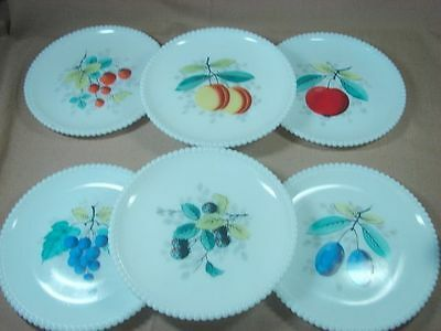 6 Westmoreland Beaded Edge Fruit Salad Plates All Different White Milk Glass