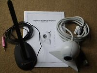 Packard Bell adjustable microphone together with a Logitech QuickCam Express webcam.
