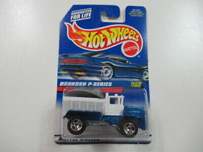 VINTAGE 90s 1998 Hot Wheels Oshkosh P-Series Diecast Truck #765 Blue Carded