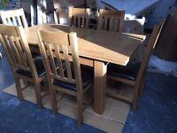 BRAND NEW Julian Bowen Astoria Oak Extending Dining Table Set with 6 Chairs, Light Oak