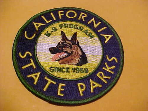 CALIFORNIA STATE PARKS K-9 POLICE PATCH SHOULDER SIZE UNUSED