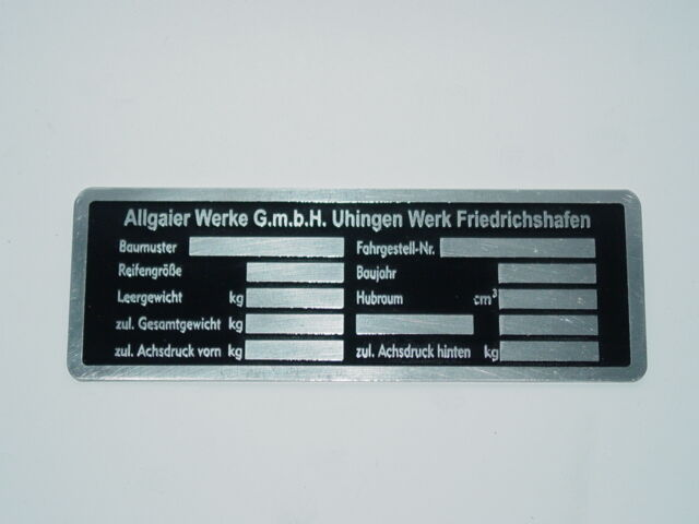 Typenschild Aluminum - Schild für Allgaier Traktor Schlepper (29 Foto 1